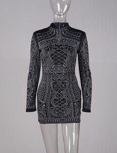 new Sexy Rhinestone sequined high neck long-sleeve bodycon dress evening elegant celebrity balck party dress
