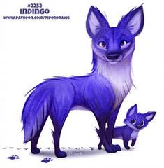 Daily Paint Indingo by Cryptid-Creations on DeviantArt Cute Fantasy Creatures, Mythical Creatures Art, Cute Creatures, Magical Creatures, Animal Puns, Cute Animal Drawings Kawaii, Creature Drawings, Anime Animals, Cute Funny Animals