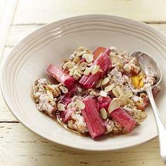 Rhubarb, Rose & Almond Bircher Muesli - Muesli Recipe