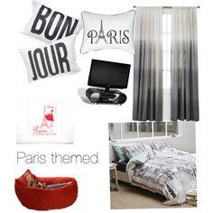Paris themed bedroom pop of color - Polyvore