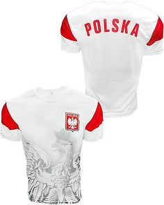 5fa7c33aca1 Polska athletic soccer jersey with large White Eagle on the side and the  Poland Crest on