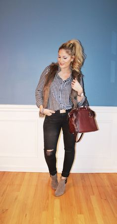 Outfitted411: Faux Fur Friday...faux fur vest, booties, Michael Kors bag, gingham shirt, distressed denim