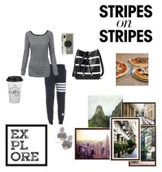 """Comfort Travel"" by thisisit21 ❤ liked on Polyvore featuring Pottery Barn, Thom Browne, Lauren Ralph Lauren, Sur La Table, Kate Spade, stripesonstripes and PatternChallenge"