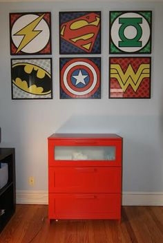 Superhero gallery wall in a shared boys room