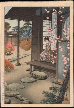Saito, Hodo (a.c. 1930s) - Bijin By A Garden Engawa in Spring - Gumyo-ji Kannon-do