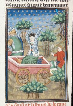 Berenice .Author Giovanni Boccaccio TitleDe claris mulieribus in an anonymous French translation (Le livre de femmes nobles et renomées) OriginFrance, N. (Rouen) Datec. 1440 LanguageFrench Royal 16 G V   f. 86v