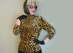 Vintage 80s Leopard Velour Long Sleeve Top by LunaJunction on Etsy