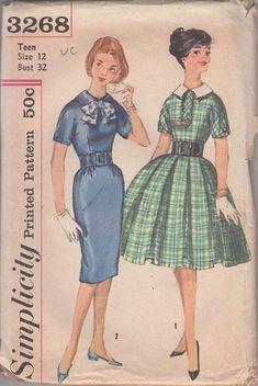 MOMSPatterns Vintage Sewing Patterns - Simplicity 3268 Vintage 50's Sewing Pattern DELIGHTFUL Rockabilly Vixen Mad Men Sheath Dress, Full Pl...
