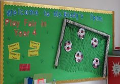 Neat soccer themed behavior system - students can get yellow cards for bad… Soccer Bulletin Board, School Bulletin Boards, Teamwork Bulletin Boards, Team Theme, Soccer Theme, Soccer Goals, Sport Theme, Sports Theme Classroom, Classroom Decor