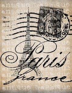 Antique Paris France fantaisie Tour Eiffel par AntiqueGraphique