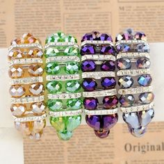 Faceted Crystal Glass Beads Rondelle Bracelet Bangle