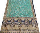 Vintage Sari Art Silk Embroidered Work Indian Fabric Sari Blue Deco Craft 5yard - #blue, #craft, 5yard, Deco, Embroidered, fabric, INDIAN, Sari, Silk, vintage, Work