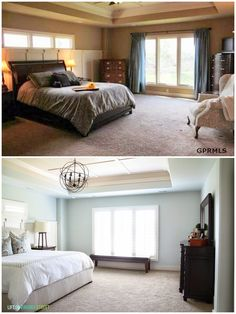 Gorgeous master bedroom makeover! What an impressive before and after. Love the paint color (Sherwin Williams Sea Salt) - via Life On Virginia Street.