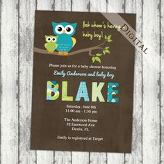 owl baby boy shower invitation. this would be cute for the theme of the shower too. (: