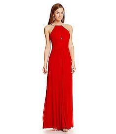 B Darlin Metal Halter Neckline Gown #Dillards