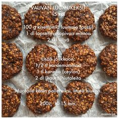 Luumukeksit Toddler Meals, Kids Meals, Baby Food Recipes, Cooking Recipes, Raw Cake, Always Hungry, Baby Led Weaning, Yams, Raw Vegan