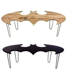 Uniquely crafted wood batman coffee tables by California-based design studio Bohemian Workbench.if he ever gets his man cave. Coffee Table Furniture, Coffee Tables, Nananana Batman, Woodworking Store, Woodworking Logo, Woodworking Classes, Fine Woodworking, My New Room, Man Cave