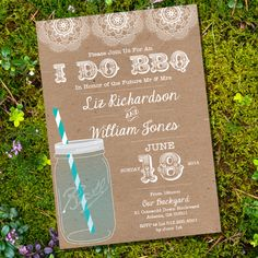 Shabby Chic I Do BBQ lnvitation Invitation - Engagement Party Invitation - Instantly Downloadable and Editable File - Print at Home! by SunshineParties on Etsy
