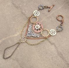 Rustic Steampunk Gear Layered Ring Slave Bracelet by ShambleRamble, $45.00