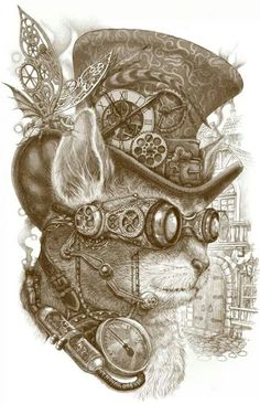 "The Observer"" by Winardi is new this week! ""The Steampunk Cat is observing the future. Just like a magic crystal ball, his special steampunk goggle device observes what the future will look like. I hope it will be a great one for us. Viktorianischer Steampunk, Steampunk Kunst, Steampunk Artwork, Steampunk Fashion, Steampunk Images, Gothic Fashion, Steampunk Drawing, Steampunk Wallpaper, Steampunk Cosplay"