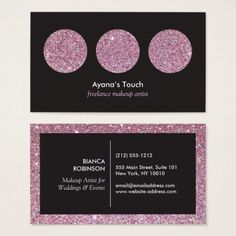 Cool business cards for makeup artists logos pinterest pink glitter palette for freelance makeup artist business card colourmoves
