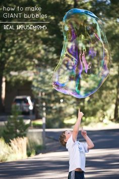I'll tell you How to Make GIANT Bubbles with your own homemade bubble wands and solution so that kids and adults alike can enjoy immeasurable outdoor fun!