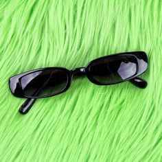 f4c6d5af55 Black Slim Rectangular Sunglasses ~ Black frames with black - Depop