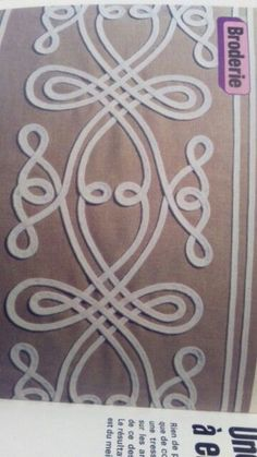 Motif Soutache, Soutache Pattern, Embroidery Applique, Beaded Embroidery, Embroidery Patterns, Machine Embroidery, Sewing Lessons, Sewing Hacks, Embroidery Techniques