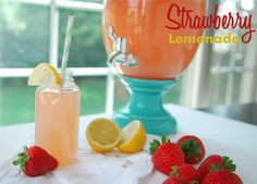 Yummy strawberry lemonade recipe, would be great with vodka.