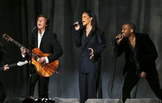"""Paul McCartney, Rihanna and Kanye West during the performance of their hit song """"FourFiveSeconds"""" at 2015 Grammy Awards."""