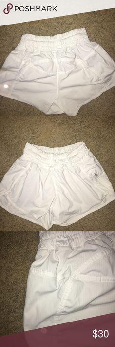 White lululemon shorts Cute white lulu shorts. Super comfy! lululemon athletica Shorts