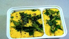 Instant Gujrati Besan Dhokla in Microwave. Steam fluffy Khaman Dhokla at home in 12 minutes with video in hindi and pictures. No Oven required. Khaman Dhokla, Curry Leaves, The Dish, Mashed Potatoes, Zucchini, Microwave, Oven, Vegetarian, Dishes