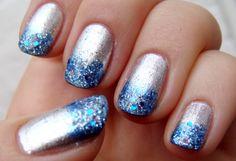Blue-Sliver glitter Nails. #fashion #girl #beautiful