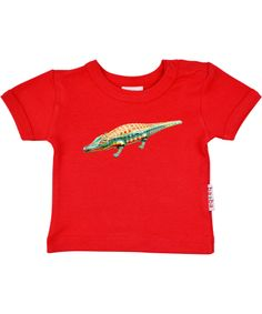 Baba Babywear red T-shirt with crocodile print. baba-babywear.en.emilea.be