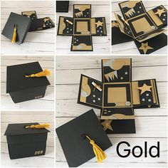 Items similar to Explosion Photo Box, School Graduation, Graduation Mini Album IN YOUR COLORS - Exploding Box Album, Grad Cap and Tassel Scrapbook on Etsy Graduation Presents, Graduation Cards, Graduation Gifts, Diy Gift Box, Diy Gifts, Birthday Explosion Box, Exploding Gift Box, Karten Diy, Diy Birthday