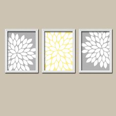Gray Wall Art flower bursts modern home wall art print - 8 x 10 and 11 x 14 pink