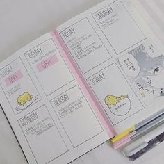 next week is all filled out, ft ぐでたま!「 nothing for sunday yet but i'll probably end up working, sigh! 」#bulletjournal #bulletjournaling #bujo #bulletjournalcommunity
