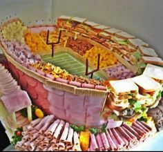 Tailgating snacks in the form of a football stadium! All that is missing is a penguin!