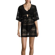 a.n.a Crochet Swimsuit Cover-Up Dress - Black - Size Small - Women's -... ($25) ❤ liked on Polyvore featuring swimwear, cover-ups, crochet cover up, crochet swimsuit cover ups, crochet swimsuit, cover up swimsuit and swim cover up