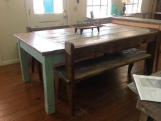 Large farmhouse table is made of pine lumber. The finish is distressed blue on legs and top is stained with lite distressing with white. The table would look great in any home. Dimensions are 83 long x 46 wide 31 high. Contact shop owner for shipping cost to fedex freight center in your