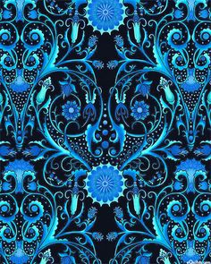 'Paradise' collection by Jason Yenter for In The Beginning Fabrics.   Paradise - Folk Art Fantasies - Midnight Blue