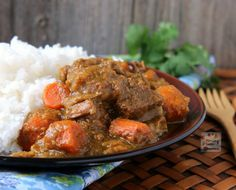 Slow Cooker Coconut Curry Beef Stew FPP: A hearty slow cooker stew with melt-in-your-mouth tender beef chunks in creamy coconut sauce flavored with curry powder and other spices. SLOW COOKER COCONUT CURRY BEEF STEW - deliciousness in every mouthful! Curry Recipes, Meat Recipes, Indian Food Recipes, Dinner Recipes, Cooking Recipes, Healthy Recipes, Beef Recepies, Recipies, Free Recipes