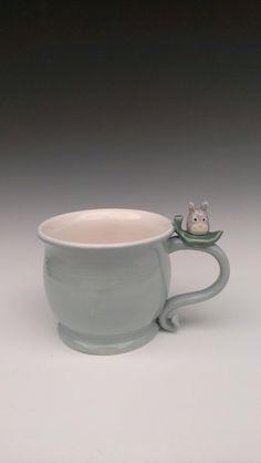 Totoro Mug in Seabreeze Made to Order by rabbitmeadowstudio, $35.00