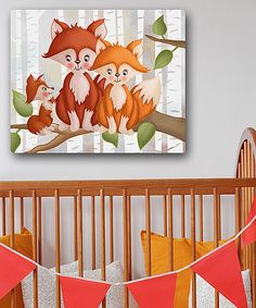 Loving this 16'' x 20'' Forest Woodland Foxes Wrapped Canvas on #zulily! #zulilyfinds