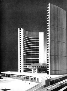 fuckyeahbrutalism: Model of Toronto City Hall, 1958 (Viljo Revell) Architectural Scale, Architectural Elements, Architecture Plan, Interior Architecture, Vintage Architecture, Interior Design, Modernist Movement, Toronto Photography, Toronto City