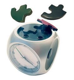 LOVE this! ALARM CLOCK PUZZLE - must assemble before alarm will go off!  LOL