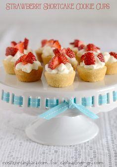 Strawberry Shortcake Cookie Cups. Excellent dessert recipe!