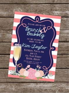 BRUNCH & BUBBLY Mimosa Bridal Wedding Shower Bachelorett Themed Invitations Set of 12 {1 Dozen} Coral Navy Party Packs Available www.lolosboutique.etsy.com