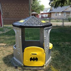 Up cycled plastic house turned bat cave. Used spray paint for plastics.