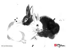 Love how the white rabbit is shown primarily by not painting anything ---- Sumi-e | ZANIES